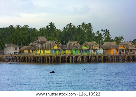 wooden houses in Penyengat island, indonesia - stock photo