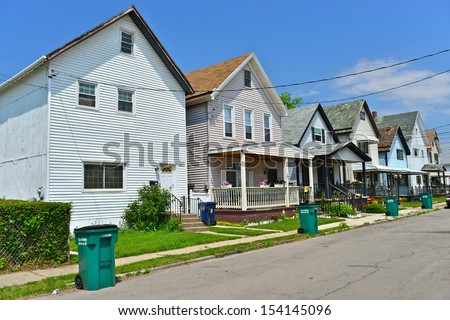 Wooden houses in the industrial suburb of Buffalo, NY, USA - stock photo