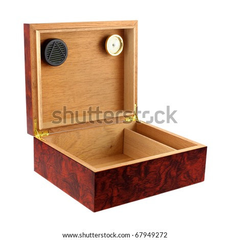 Wooden humidor for cigars isolated on white background. Intentional shallow depth of field. Studio work - stock photo