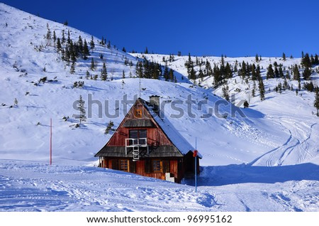 Wooden hut in Gasienicowa valley - High Tatra Mountains - stock photo