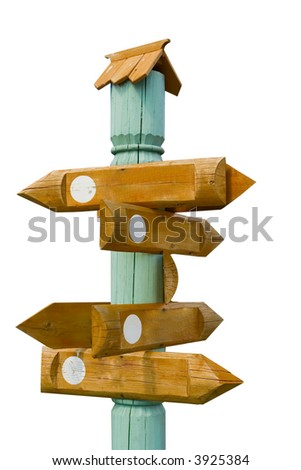 Wooden Indexes of movement on a column - stock photo