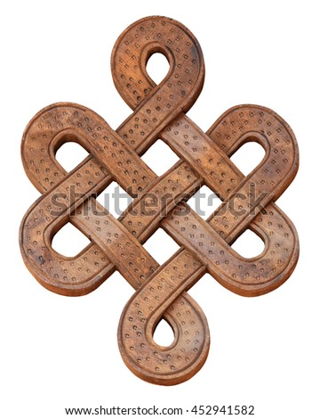 Wooden infinity knot on a white background, isolate. - stock photo
