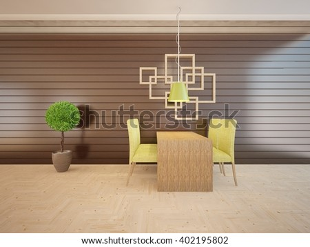 Wooden interior of living room with dinner place - 3d illustration