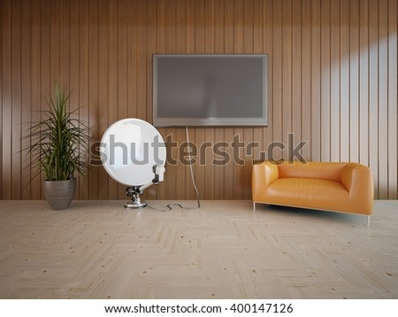Wooden interior of living room with orange armchair - 3d illustration - stock photo