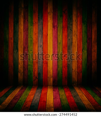 wooden interior room in bright colours.