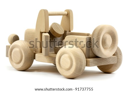 Wooden jeep with open door isolated on white background - stock photo