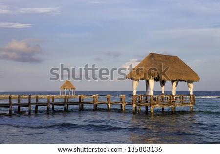 wooden jetty at the caribbean sea at Yucatan Peninsula, Mexico - stock photo