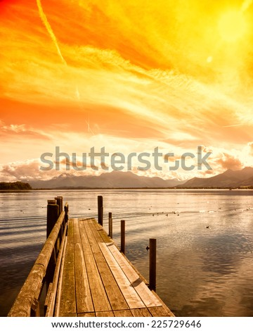 wooden jetty lake chiemsee, bavaria, germany, europe