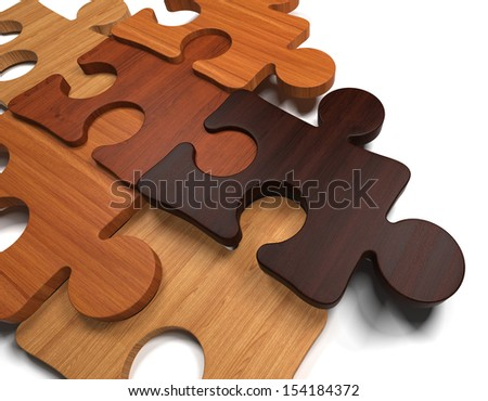 Wooden Jigsaw Puzzle - stock photo