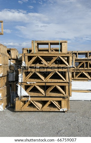 Wooden joists waiting for delivery