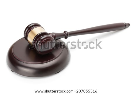 Wooden judge gavel and soundboard isolated on white background - studio shoot.  - stock photo