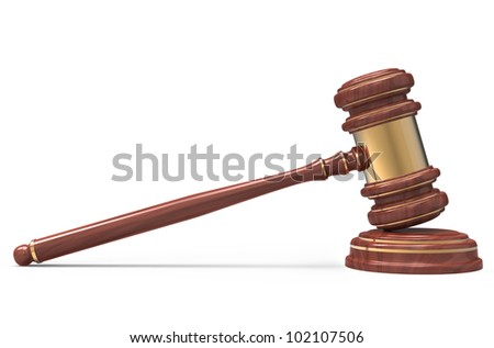 wooden Judge gavel isolated on white background with clipping path. - stock photo
