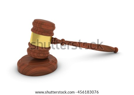 Wooden Judge's Gavel and Sound Block 3D Illustration