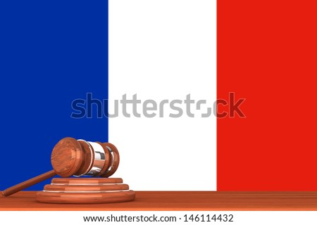 Wooden Justice Gavel with Flag Of France - stock photo