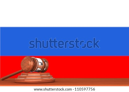 Wooden Justice Gavel with Flag Of Russia - stock photo