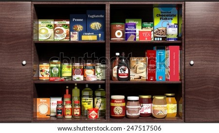 Wooden kitchen cabinet full of food products  - stock photo