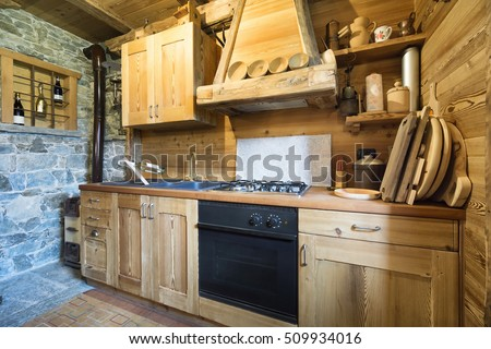 wooden kitchen in rustic style