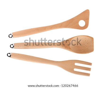 Wooden kitchen utensils. Isolated on white background - stock photo