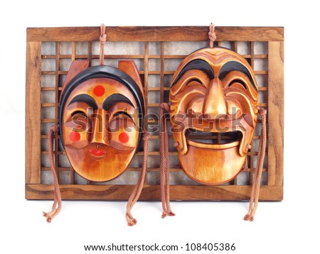 Wooden korean masks. Korean souvenir. - stock photo