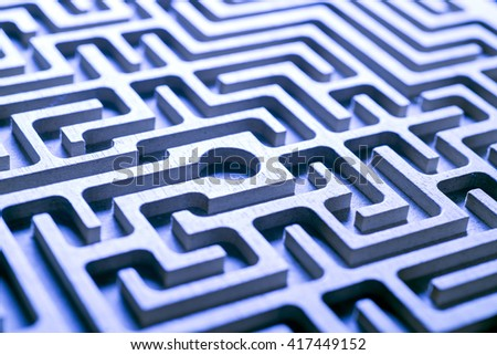 wooden labyrinth, blue light  - stock photo