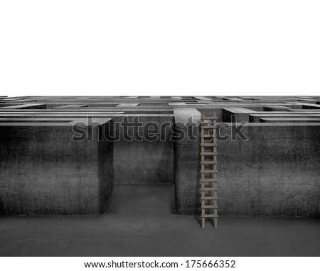 Wooden ladder with concrete 3D maze isolated in white background - stock photo