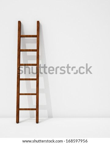 wooden ladder with shadow on white background - stock photo