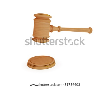 Wooden lawyer's hammer. 3d rendered. Isolated on white background. - stock photo