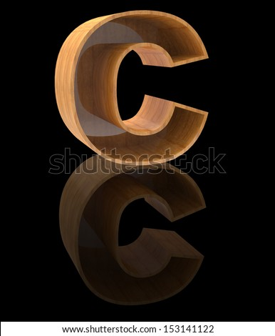 wooden letter C - stock photo