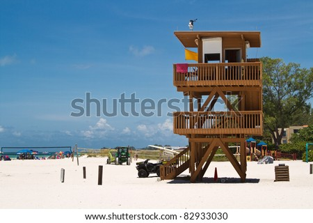 Wooden life guard tower on Florida's Anna Maria Island