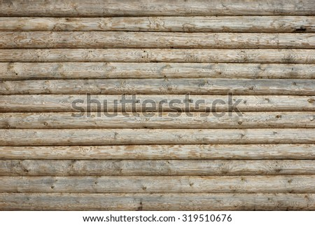 Wooden Log Cabin Wall Natural Colored Horizontal Background Texture Detail Close Up - stock photo