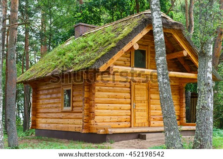 wooden log cabine shelter under thatched roof in pine forest - stock photo