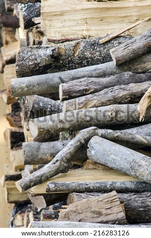 Wooden logs for the fireplace in winter