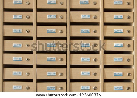 Wooden mailbox. - stock photo