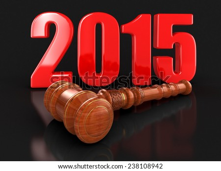 Wooden Mallet and 2015 - stock photo