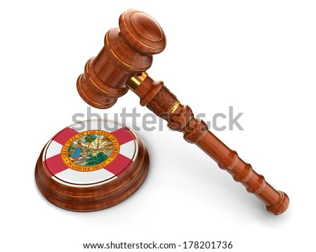 Wooden Mallet and flag Of Florida (clipping path included) - stock photo
