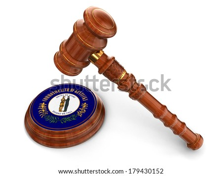 Wooden Mallet and flag Of Kentucky (clipping path included) - stock photo