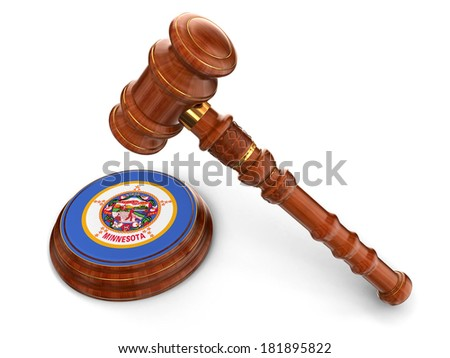 Wooden Mallet and flag Of Minnesota (clipping path included) - stock photo