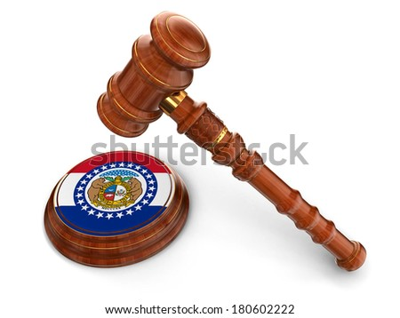 Wooden Mallet and flag Of Missouri (clipping path included) - stock photo