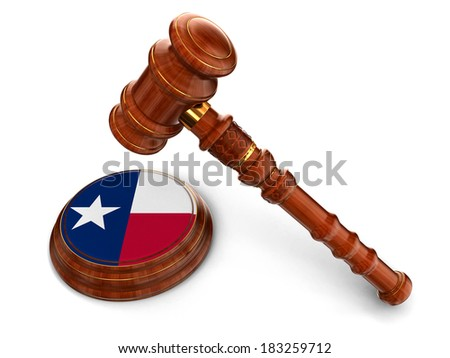 Wooden Mallet and flag Of Texas (clipping path included) - stock photo