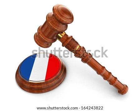 Wooden Mallet and French flag (clipping path included) - stock photo