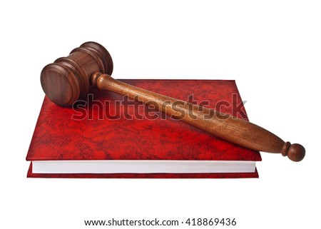 Wooden mallet and red book isolated on a white background - stock photo