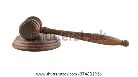 wooden mallet is isolated on a white background - stock photo