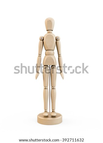 Wooden man figure isolated on white background - stock photo