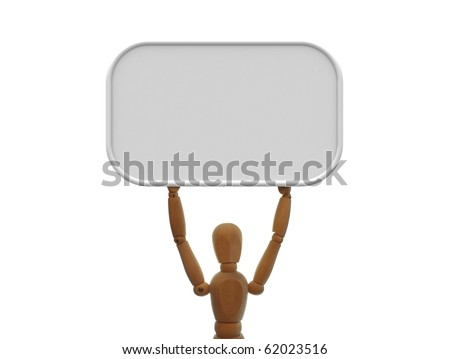 Wooden Mannequin holds a neutral grey blank board