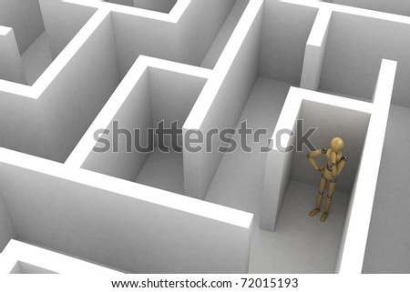 Wooden mannequin is thinking about a way to find a way out - stock photo