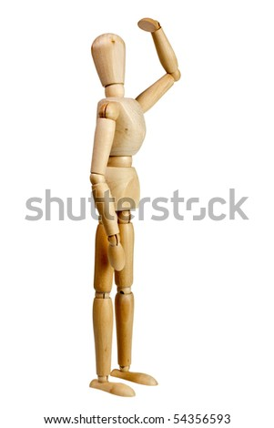 Wooden mannequin look far away isolated on white background