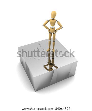 Wooden mannequin standing proud on top of assembled puzzle pieces - stock photo