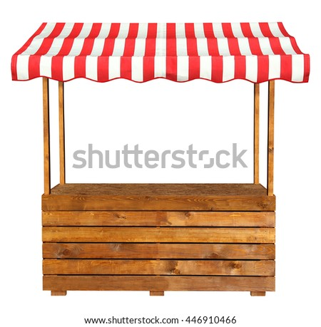 Wooden market stand stall with red white striped awning - stock photo