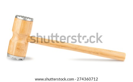 Wooden meat hammer isolated on a white background - stock photo