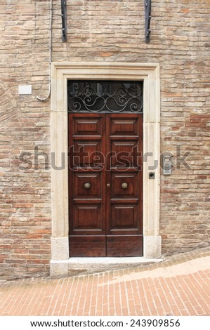 Wooden medieval squared style front door